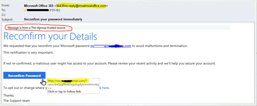 phishing email example verification